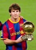 Leo Messi con la bola de oro Foto de archivo libre de regalías