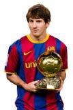 Leo Messi con la concesión de la bola del oro Foto de archivo