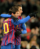 Leo Messi with Cristian Tello of FC Barcelona. Celebrate goal during spanish league match between FC Barcelona vs Real Sociedad at the Camp Nou stadium on Royalty Free Stock Image