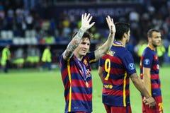 Leo Messi durante la taza estupenda de la UEFA del partido foto de archivo