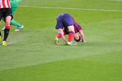 Leo Messi, F C Barcelona gracz, otrzymywa faul zdjęcia stock