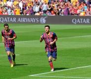 Leo Messi F C Den Barcelona fotbollsspelaren, firar hans mål mot den Getafe klubban de Futbol på den Camp Nou stadion Arkivfoto