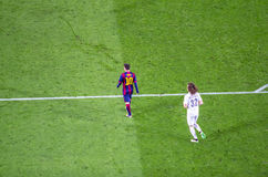 Leo Messi of FC Barcelona and David Luiz of PSG in action Royalty Free Stock Photography