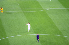 Leo Messi of FC Barcelona and David Luiz of PSG in action Royalty Free Stock Image