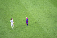 Leo Messi of FC Barcelona and David Luiz of PSG in action Royalty Free Stock Photos