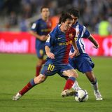 Leo Messi FC Barcelona player. BARCELONA, SPAIN : Argentiniaian player Leo Messi of Barcelona in action during the match between FC Barcelona and RCD Espanyol in Stock Photography
