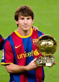 Leo Messi with golden ball Royalty Free Stock Photo
