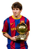 Leo Messi with Golden Ball Award. BARCELONA - JANUARY 12: Leo Messi offering the FIFA World Player Gold Ball Award to the soccer supporters of Football Club Stock Photo