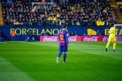 Leo Messi joga na harmonia de Liga do La entre o Villarreal CF e o FC Barcelona no estádio do madrigal do EL Imagem de Stock Royalty Free