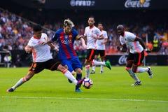 Leo Messi joue à la correspondance de Liga de La entre le Valencia CF et le FC Barcelona chez Mestalla images stock