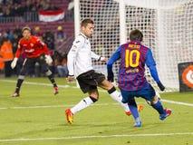 Leo Messi que dispara em um objetivo Foto de Stock Royalty Free