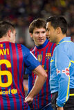 Leo Messi and referee Stock Photos