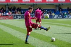 Leo Messi si scalda prima della partita di Liga della La fra il Villarreal CF ed il FC Barcelona allo stadio di madrigale di EL Immagine Stock