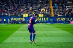 Leo Messi-spelen bij de gelijke van La Liga tussen Villarreal CF en FC Barcelona bij de Madrigaalstadion van Gr Stock Fotografie