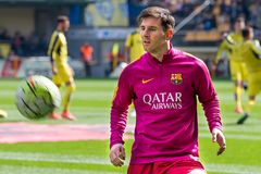 Leo Messi warms up prior to the La Liga match between Villarreal CF and FC Barcelona at El Madrigal Stadium. VILLARREAL, SPAIN - MAR 20: Leo Messi warms up prior royalty free stock photo