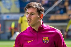 Leo Messi warms up prior to the La Liga match. VILLARREAL, SPAIN - MAR 20: Leo Messi warms up prior to the La Liga match between Villarreal CF and FC Barcelona Royalty Free Stock Photos