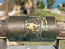 Leo metal astrological sign on Wishing Bridge in Old City of Yaffa Israel. English and Hebrew metal leo astrological sign on Wishing Bridge in Old City of Yaffa stock images