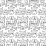 051 leo pattern 01. Vector pattern, seamless wallpaper with the image of the muzzle of a wild cat Royalty Free Illustration