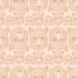 051 leo pattern 01. Vector pattern, seamless wallpaper with the image of the muzzle of a wild cat Vector Illustration