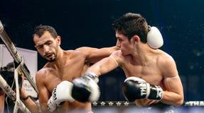 Leo Pinto de Francia y Mourad Harfaoui de Marruecos en la lucha tailandesa 2013. Fotos de archivo libres de regalías