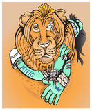 Leo, representative of the seventh month in a horoscope. Vector Stock Images