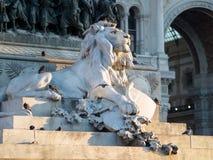 leo Rzeźba w centrum piazza Duomo w Mediolan obrazy royalty free