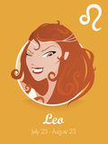 Leo sign vector. Female leo sign vector illustration Stock Image