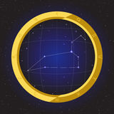 Leo star horoscope zodiac in fish eye telescope with cosmos background. Leo star horoscope zodiac in fish eye telescope golden ring frame with cosmos background Stock Images
