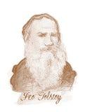 Leo Tolstoy Engraving Style Sketch Portrait Stock Image