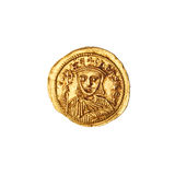 Leo V Ancient Coin (Reverse). Ancient Gold Roman coin of Leo V on pure white background reverse side up Royalty Free Stock Photography