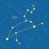 Leo Zodiac auf Hintergrund des kosmischen Himmels Stockbild