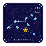 Leo zodiac constellation in square frame Royalty Free Stock Photography