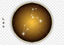 Leo zodiac constellations sign on beautiful starry sky with galaxy and space behind. Lion horoscope symbol constellation on deep c. Osmos background. Vector Royalty Free Stock Photos