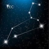 Leo Zodiac sign. Bright stars in cosmos Royalty Free Stock Images