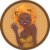 Leo zodiac sign. African young girl like leo astrological sign Royalty Free Stock Photography