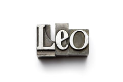 Leo Zodiac Sign. Sign of the Zodiac using vintage letterpress type with narrow depth of field. Part of an annual/calendar series royalty free stock images