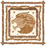 Leo Zodiac Sign auf gebürtigem Stammes- ledernem Rahmen Stockbild