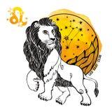 Leo Zodiac Sign Círculo del horóscopo Chapoteo de la acuarela Imágenes de archivo libres de regalías