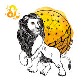 Leo Zodiac Sign Cerchio dell'oroscopo Spruzzata dell'acquerello Immagini Stock Libere da Diritti