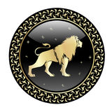 Leo zodiac sign in circle frame stock illustration