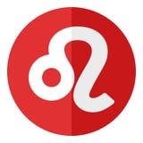 Leo Zodiac Sign Flat Icon rojo en blanco Imagenes de archivo