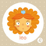Leo zodiac sign, girl with voluminous hair and crown Royalty Free Stock Image