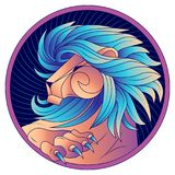 Leo zodiac sign, horoscope symbol blue, vector. Leo zodiac sign, horoscope symbol. Lion with  blue mane and claws. Futuristic style icons. Head in profile Stock Image