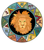 Leo  Zodiac Sign. With Horoscope symbols Royalty Free Stock Images