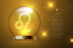 Leo Zodiac sign in Magic glass ball, Fortune teller concept design illustration. On gold gradient background with copy space, vector eps 10 Stock Images