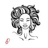 Leo. Zodiac Beautiful fashion girl. Leo. Zodiac signs collection. Beautiful Ink fashion zodiac girl. Horoscope series. Vector illustration Royalty Free Stock Photos