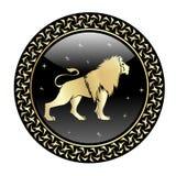 Leo zodiak podpisuje wewnątrz okrąg ramę ilustracji