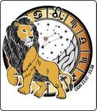 Leo zodiaka znak. Horoskopu okrąg. Wektorowy Illustrati Fotografia Stock