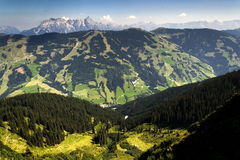 Leogang Mountains with highest peak Birnhorn idyllic summer landscape Alps Stock Photos
