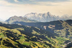 Leogang Mountains with highest peak Birnhorn idyllic summer landscape Alps Royalty Free Stock Image
